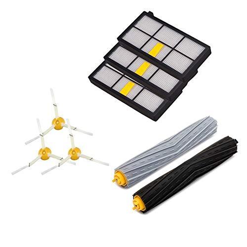 Amoy Bürsten Filter Ersatzset Kompatibel with Roomba 800 und 900 Serie 980 966 960 865 870 875 876 Zubehör Seitenbürste mit Schrauben