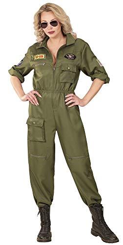 Kampfpilotin Flieger Kostüm für Damen - Overall - Grün - Gr. L