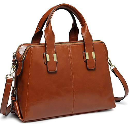 Handbags for Ladies, VASCHY PU Patent Leather Top Handle Bag Women Satchel Work Tote Bag with Triple Compartments,Brown