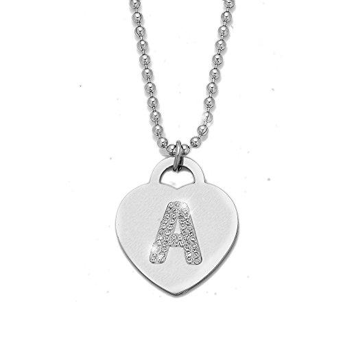Collana con ciondolo da donna in acciaio con cristalli con lettera iniziale - pendente a forma di cuore con lettera dell'alfabeto - collana con catenina lunga 90 cm - argento e cristalli (A)