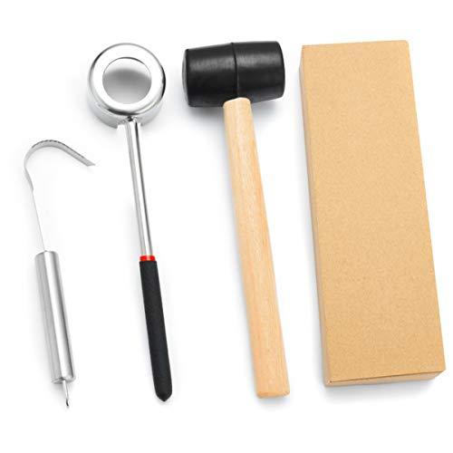 SANON Kokosnussöffner, Kokosnussöffner, Werkzeug + Gummihammer + Kokosnuss-Fleischentferner, sicher, leicht zu öffnen Kokosnuss