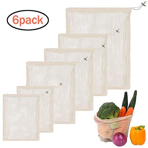 6er Set Gemüsebeutel aus Baumwolle, Wiederverwendbare Einkaufsnetze Obstnetze und Gemüsenetz Natural Mesh, Zero-Waste, plastikfrei(2*Kleine, 3*Mittlere, 1*große) MEHRWEG