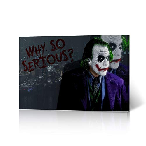 HB Art Design Heath Ledger The Joker Quote 'Why so Serious' Canvas Wall Art Vector Digital Painting Decorative Home Decor Poster Living Room Dorm Decor- Ready to Hang - Made in The USA - 19x28