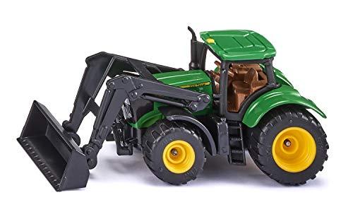 siku 1395, John Deere Traktor mit Frontlader, Grün, Metall/Kunststoff, Bereifung aus Gummi, Beweglicher Frontlader