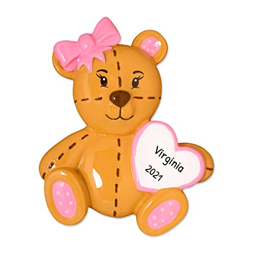 Ornaments by Elves Personalized Teddy Bear Christmas Ornament for Tree 2018 - Brown Patched Toy with Pink Heart - Baby New Mom Shower Tradition Nursery Grand-daughter Kid - Free Customization (Girl)