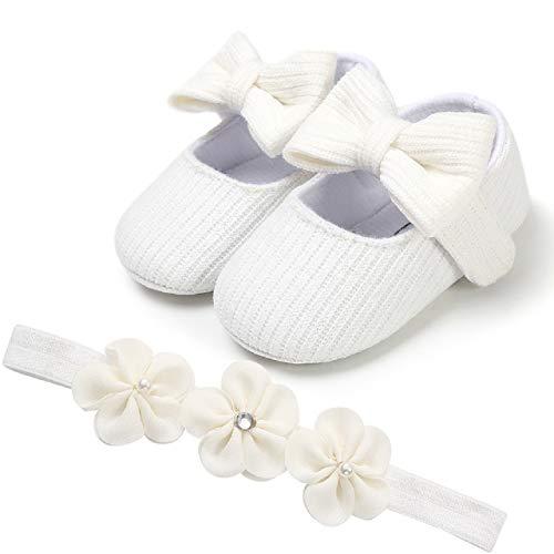 Auxma Babyschuhe für 0-18 Monate, Baby Mädchen Bequeme Anti-Rutsch Prinzessin Kleinkind Schuhe Krabbel Hausschuhe mit 1 PC Stirnbänder Haarband (13cm/12-18 M, ZZ)