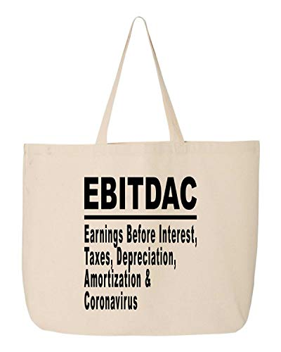 BeeGeeTees EBITDAC Earnings Before Interest Taxes Depreciation Amortization Funny Tote Bag Accountant Canvas Carry All (20'x15'x5' Beige Handle)