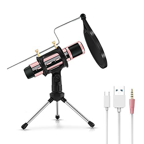 Micrófono de Condensador, ZealSound Radiodifusión Grabación Micrófono de karaoke Estudio en el hogar con soporte para PC Teléfono Podcasters/Smule Transmisión en vivo Podcasting YouTube (Oro Rosa)