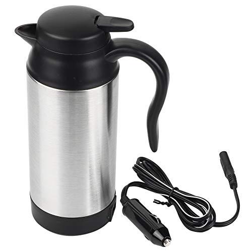 Hervidor eléctrico de viaje, 750 ml, 12 V, acero inoxidable, hervidor eléctrico para coche, taza de café, termo, taza para calentar agua, hervidor para agua caliente, café, té