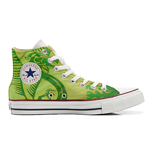 Origineel, gepersonaliseerde schoenen (handgemaakt product) draak groen, gele achtergrond