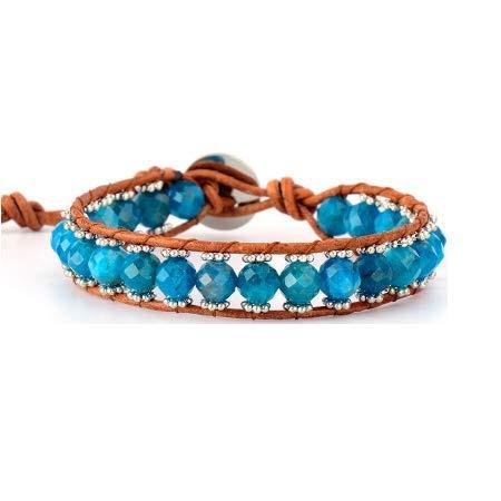 Blue apatite bracelet 'Clarté des energies' in natural leather