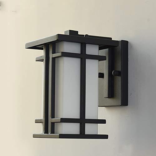 LGOO1 Linterna de Pared de Vidrio Impermeable Vintage, lámpara de Pared Creativa Retro para Exteriores, Estilo Europeo E27, Aplique de Pared Exterior, Rectangular, Negro Mate, Pantalla de lámpara