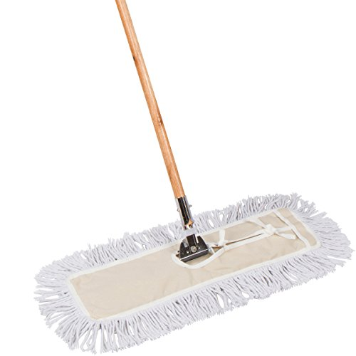 Tidy Tools 24 Inch Cotton Dust Mop - 24'' X 5'' Wide Mop Head with Cut Ends (63 Inch Wood Handle)