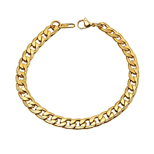 PROSTEEL Mens Bracelets Gold Filled Womens Stainless Steel Hand Chain Wristband 7MM