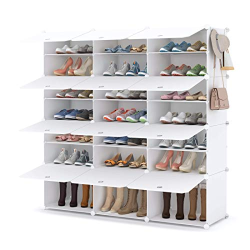HOMIDEC Zapatero zapatero de 7 niveles, de plástico, organizador para armario, pasillo, dormitorio, entrada, 3 unidades