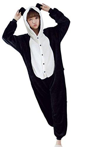 Schlafanzug-Einteiler Damen Panda Schlafoverall Damen Jumpsuits, schwarz/weiss,  M