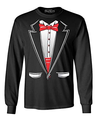 shop4ever Classic Tuxedo Long Sleeve Shirt Costume Shirts 3XL Black A82