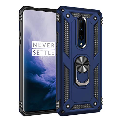 Oneplus 7 Pro Case, Extreme Protection Military Armor Dual Layer Protective Cover with 360 Degree Unbreakable Swivel Ring Kickstand for Oneplus 7 Pro Blue