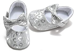 Comway Baby Girls Toddler Mary Jane Flats Shoes Bowknot Soft Infant Prewalker (6-12 Months, Glitter Bow-White)