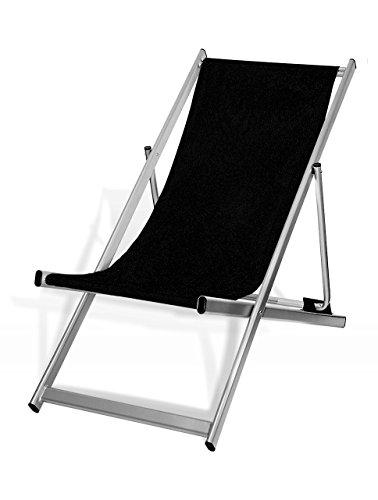 MultiBrands Liegestuhl, klappbar, Aluminium, Sitzbezug Schwarz, Silber lackiert