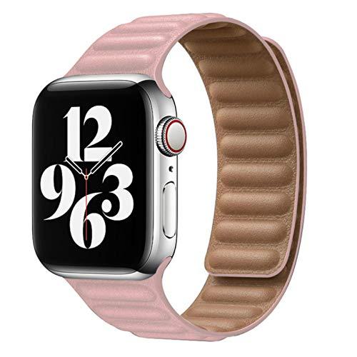 Bucle de silicona / cuero compatible con correa de reloj de Apple 40 mm 44 mm 42 mm 38 mm 42 mm Pulsera de cinturón magnéticopara hombres Mujeres Serie iWatch 6 5 4 3 Correa SE