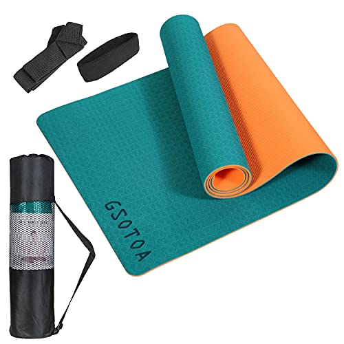 GSOTOA Gymnastikmatte, Yogamatte Pilatesmatte Rutschfest aus TPE, Übungsmatte Leichte Sportmatte für Yoga,Pilates,Training, 183x61x0,6CM