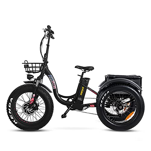 """Addmotor Motan 3 Wheel Electric Bicycle, Ebike 750W 48V 16Ah Removable Battery, Front & Rear Baskets and Front Fender, M330 20"""" Fat Tire Electric Tricycle (Black)"""
