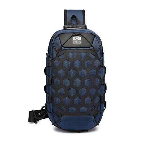 FANDARE Antirrobo Bolso Pecho Sling Bag Hombre Bolsos Cruzados con USB Bandoleras Cruzada Mochilas Bolsas de automoción para Viaje Deportes Ciclismo Impermeable Descompresión Daypacks Azul Oscuro