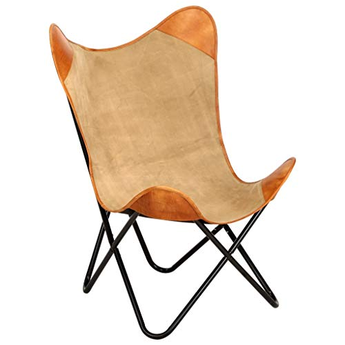 Irfora Butterfly Chair Sessel Vintage Retro Schmetterlingsessel Schmetterlingstuhl Loungesessel Leder Relaxstuhl Relaxsessel, Braun Echtleder