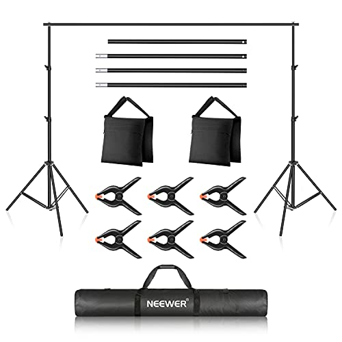Neewer Photo Studio Backdrop Support System, 10ft/3m Wide 7ft/2.1m High Adjustable Background Stand with 4 Crossbars, 6 Backdrop Clamps, 2 Sandbags, and Carrying Bag for Portrait & Studio Photography