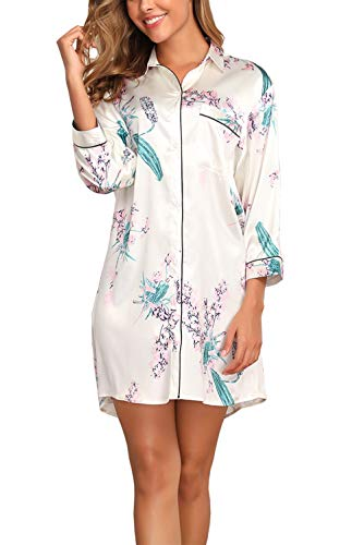 Memory baby Casual Nights Women's Floral Printed Button Down Lounger Dress (Style3-Floral, Small)