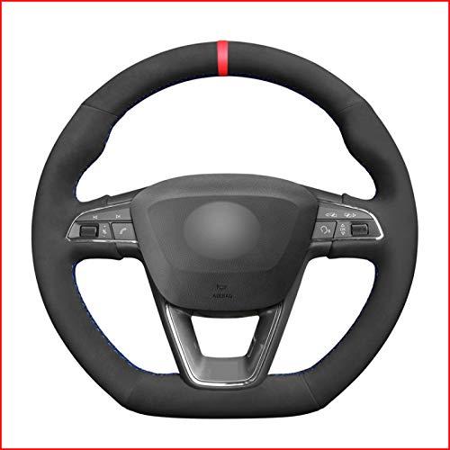 CarWorld pour Seat Leon Cupra R 2013-2019 Ibiza Cupra 2016-2019 Ateca 2016-2019, Couverture de Volant de Voiture en Daim Noir Coudre à la Main