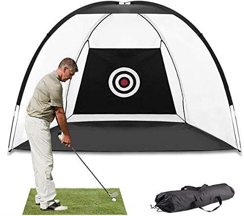MEARTEVEゴルフネット練習用屋内室外自宅3m大型折り畳み持ち運び初心者プロ収納袋付き黒父の日ギフト