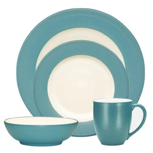 Noritake Colorwave Turquoise 4-Piece Place Setting, Rim Shape