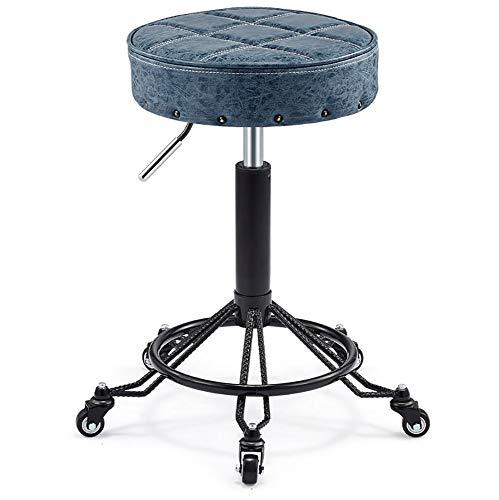 Runder Bürohocker, höhenverstellbarer 360 ° -Drehstuhl, Bar-Friseursalon, Friseurkasse, ergonomischer Stuhl, blau-braun-Blue