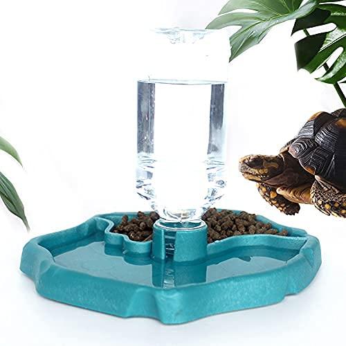 SHOPANTS Distributeur d'eau pour Reptile Distributeur 2 en 1 de Nourriture Anti Debordement Bol, Gamelle en Plastique pour Tortue Terrestre Gecko etc