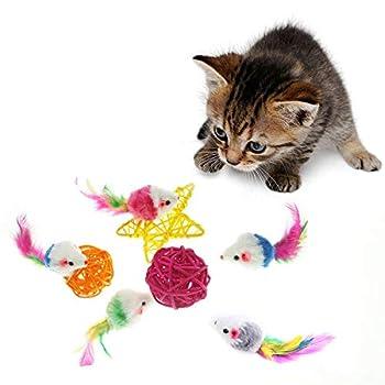 AirsunLot de 10jouets à fourrure Souris pour chat animal de compagnie