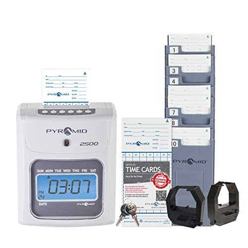 Pyramid Time Systems 2500K1 Bundle, Includes Model 2500 Auto Aligning and Top Loading Time Clock, 100 time Cards, Two Ink Ribbon cartridges, one 10 Slot time Card Rack and Two Security Keys