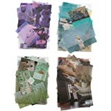 Kawaii Washi Paper Stiker Set (4 Pack,280 Pieces) Daily Life Display Travel Sea and Sky Purple Green Blue Coffee Series Label Stickers for Art Project Scrapbook Letter Journal Planner Diary