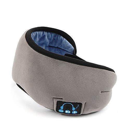 3D Augenmaske Bluetooth Schlafmaske integrierter Lautsprecher Mikrofon Waschbares Wireless Schlafkopfhörer Musik Augenmaske (Color : Gray)