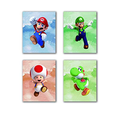 """N/Y Super Mario Art Prints Toad Super Mario Prints Wall Art Game Room Decor Birthday Painting Set of 4 Pieces (8""""X10""""Canvas Picture), Bathroom Room Painting, Frameless"""