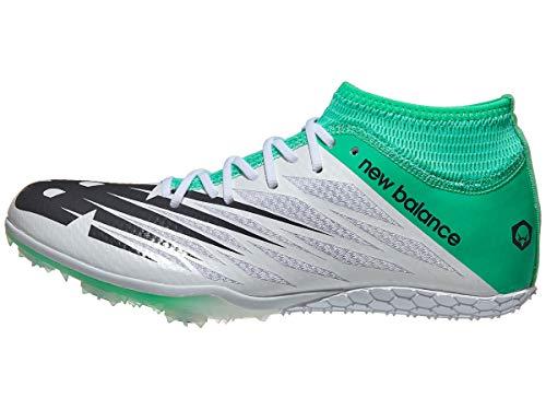 New Balance Women's Short Distance 100 V2 Spike Running Shoe, White/neon Emerald, 10.5 B US