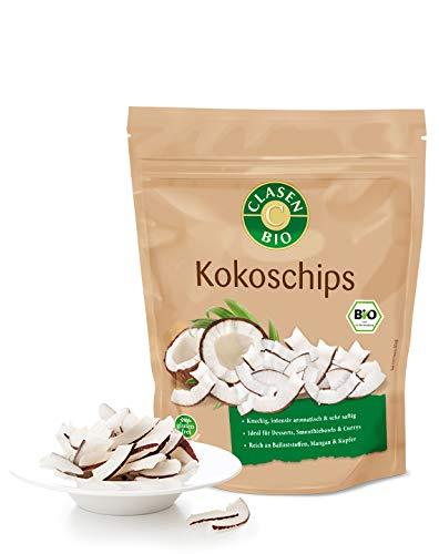 CLASEN BIO Kokoschips - 100g, ohne Zuckerzusatz, ungeschwefelt, von Natur aus vegan und glutenfrei, biologischer Anbau