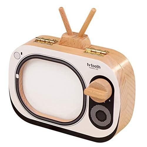 qianele Milchzahndose Fernseher-förmige Hölzerne Milchzahnbox Für Kinder
