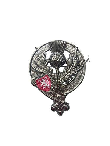 Highland Hut Anstecker Glengarry Kappen Verchromt/Sottish Glengarry Marching Piper Kappe Abzeichen Kopf Ware - Distel Wappen Abzeichen, 5CM X 7CM