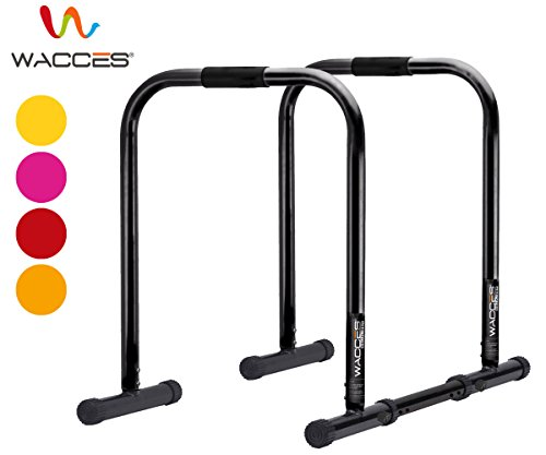 Wacces Heavy Duty Functional Fitness Station Stabilizer Dip Stands - Black