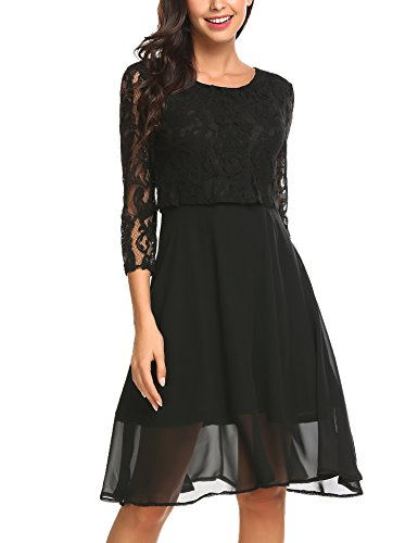 FINEJO Damen Elegant Chiffonkleid Abendkleid Cocktailkleid 3/4 Arm mit Spitzen Ballkleid Party Kleid...