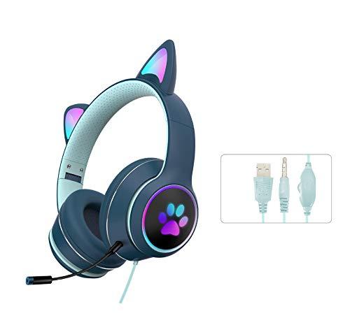 FEDBNET 2021 RGB Cat Ear Auriculares con cable, LED Light Cat Ear Plegable Juego de Música, Diseño Ergonómico Auriculares con Micrófono de Reducción de Ruido