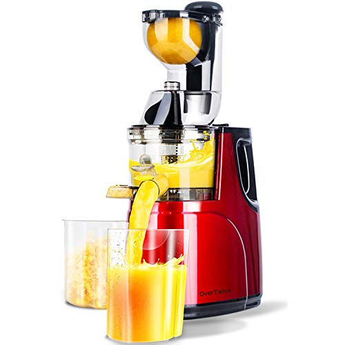 OverTwice Slow Masticating Juicer Cold Press Juice Extractor Apple Orange Citrus Juicer Machine with Wide Chute Quiet Motor for Fruit Vegetables