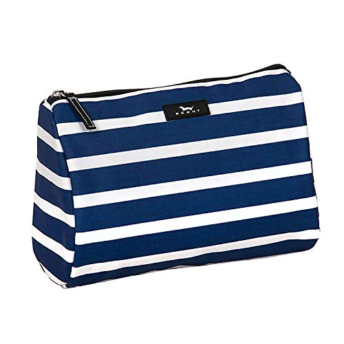 SCOUT Packin' Heat Makeup Bag, Large Water-Resistant Toiletry and Makeup Pouch for Women with Zipper Closure in Nantucket Navy Pattern (Multiple Patterns Available)